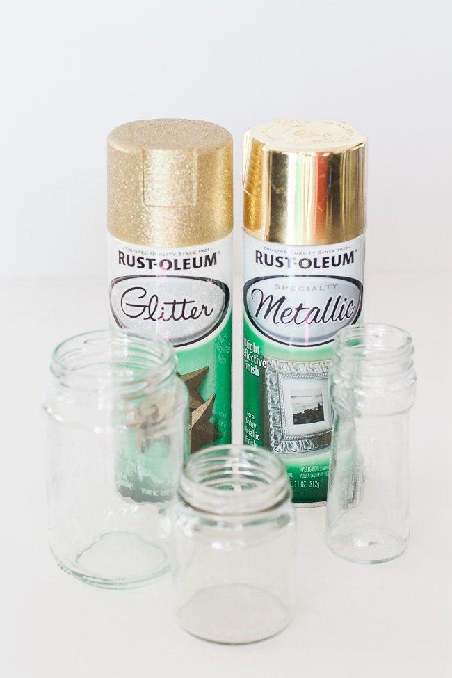 Diy Gold And Glitter Vases Tutorial Baptism Pinterest Gold