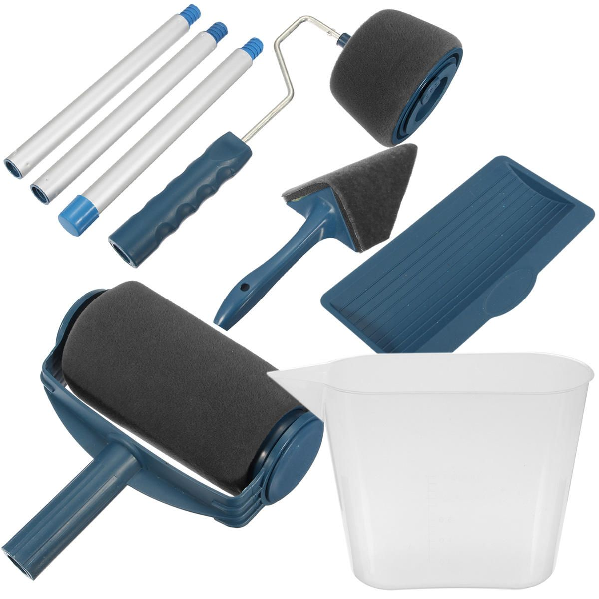 19 99 8pcs Diy Paint Roller Kit Painting Seamless Brush Tool With Handle For Wall Ceiling Decoration 8pcs Paint Roller Painting Seamles Blue Painted Walls Paint Runner Diy Painting