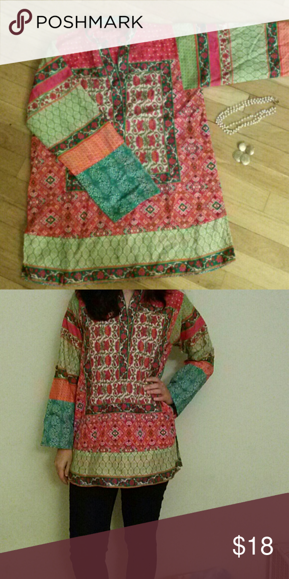 Pakistani Indian kurta (shirt) Colorful cotton shirt, loose fitting, full sleeves, excellent condition Tops Tunics