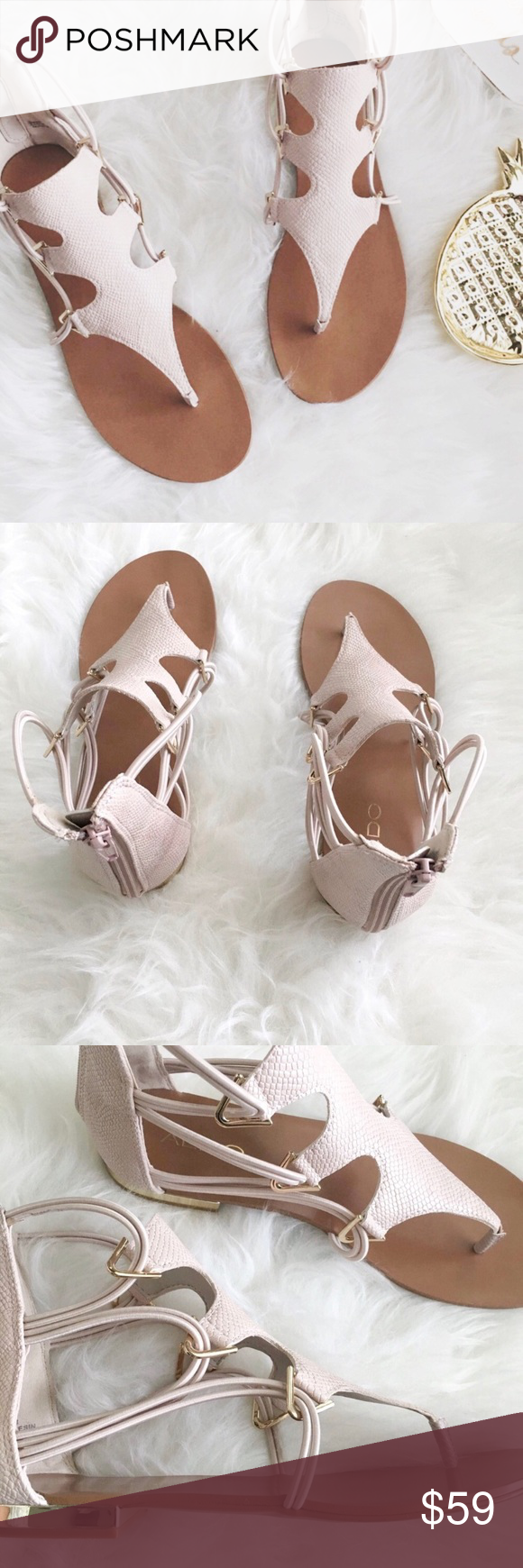 ac0500d720e0 nwt  aldo • barbiana gladiator sandals in tan 🛍  aldo ▫️gladiator sandals  in tan + gold (the tan almost looks like a blush pink - so pretty) ▫️back  zip ...