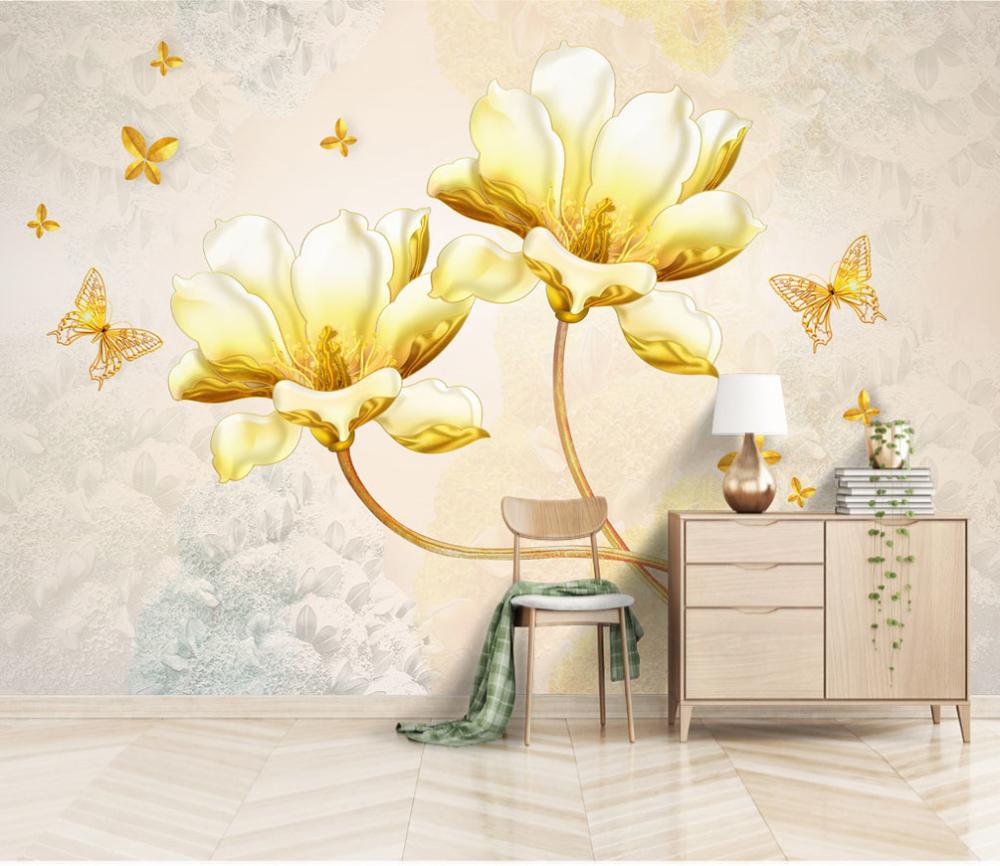 Wall Mural Wallpaper Yellow And Flower Nr Dec 5173 Wallpapers Digital Printing Uwalls Com Carta Da Parati Parete Murale Pareti Di Carta