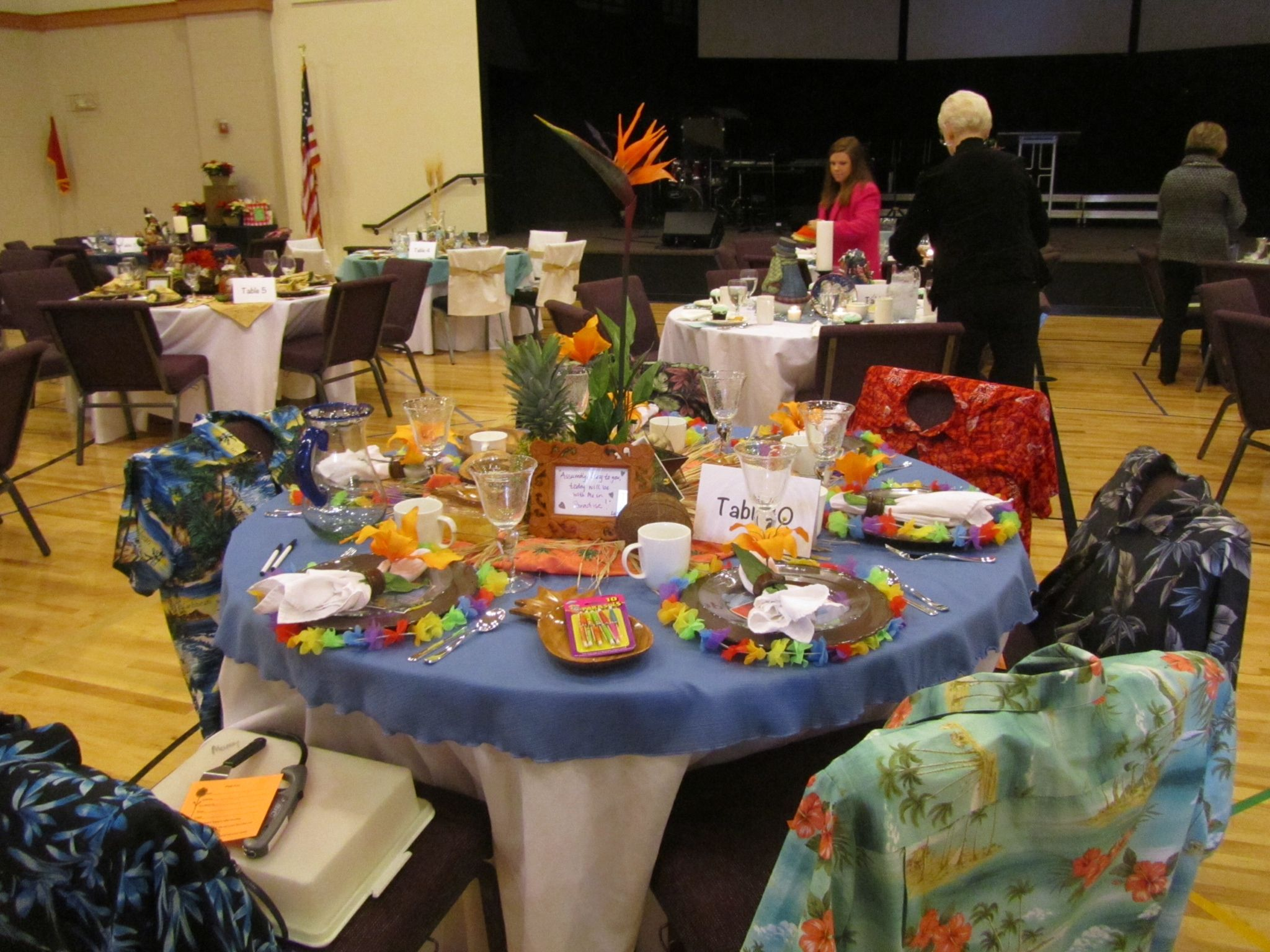Hawaiian Chair Covers Cheap Folding Tables And Chairs Theme I Used Shirts As Cover Fun Pinterest Luau Table