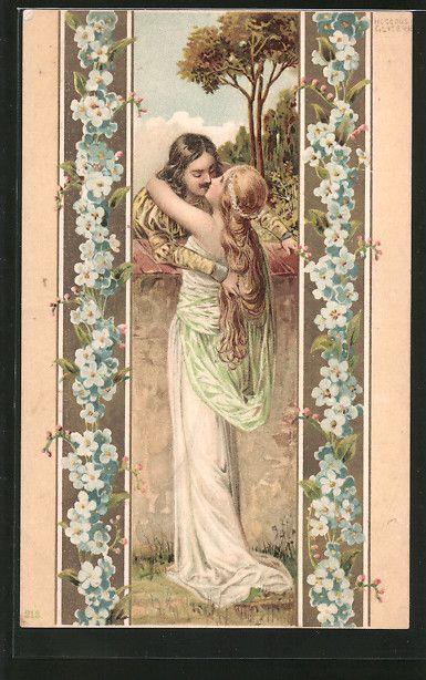 lithographie liebespaar küßt sich vergißmeinnicht
