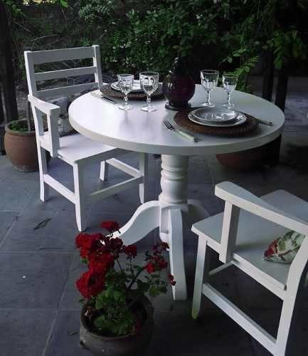 mesa redonda comedor madera laqueada estilo moderno shabby (laqueado poliuretanico)