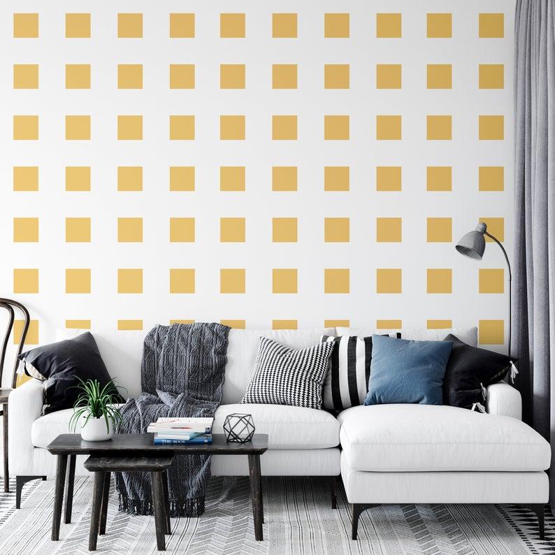 Mod Squares Wallpaper Peel And Stick Wallpaper Removable Etsy Nursery Wallpaper Wallpaper Roll Modern Wallpaper