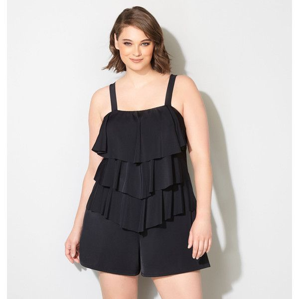 f6c059061fb33 Avenue Plus Size Tiered Swim Romper With Tummy Control ( 90) ❤ liked on  Polyvore featuring swimwear