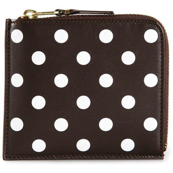 Comme Des Garçons Wallet 'Polka Dots Printed' zip-around wallet ($120) ❤ liked on Polyvore featuring bags, wallets, brown, zip-around wallet, brown wallet, brown bag, dot bag and polka dot bag