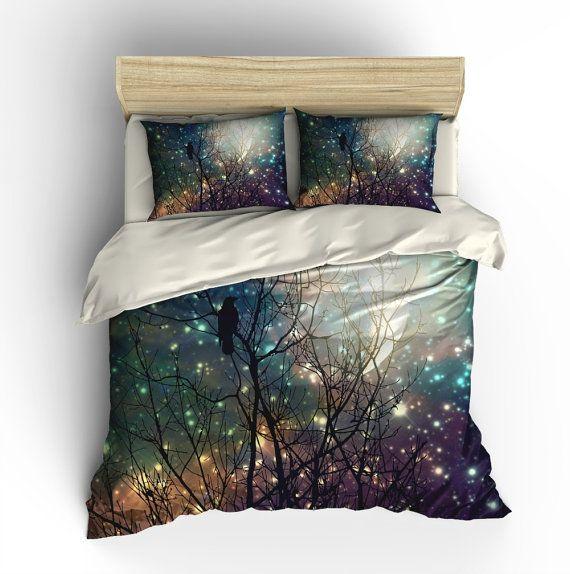 Moon Crow Comforter Duvet Cover Pillow Shams Luxury Bedding Luxury Bedding Sets Bed Linens Luxury