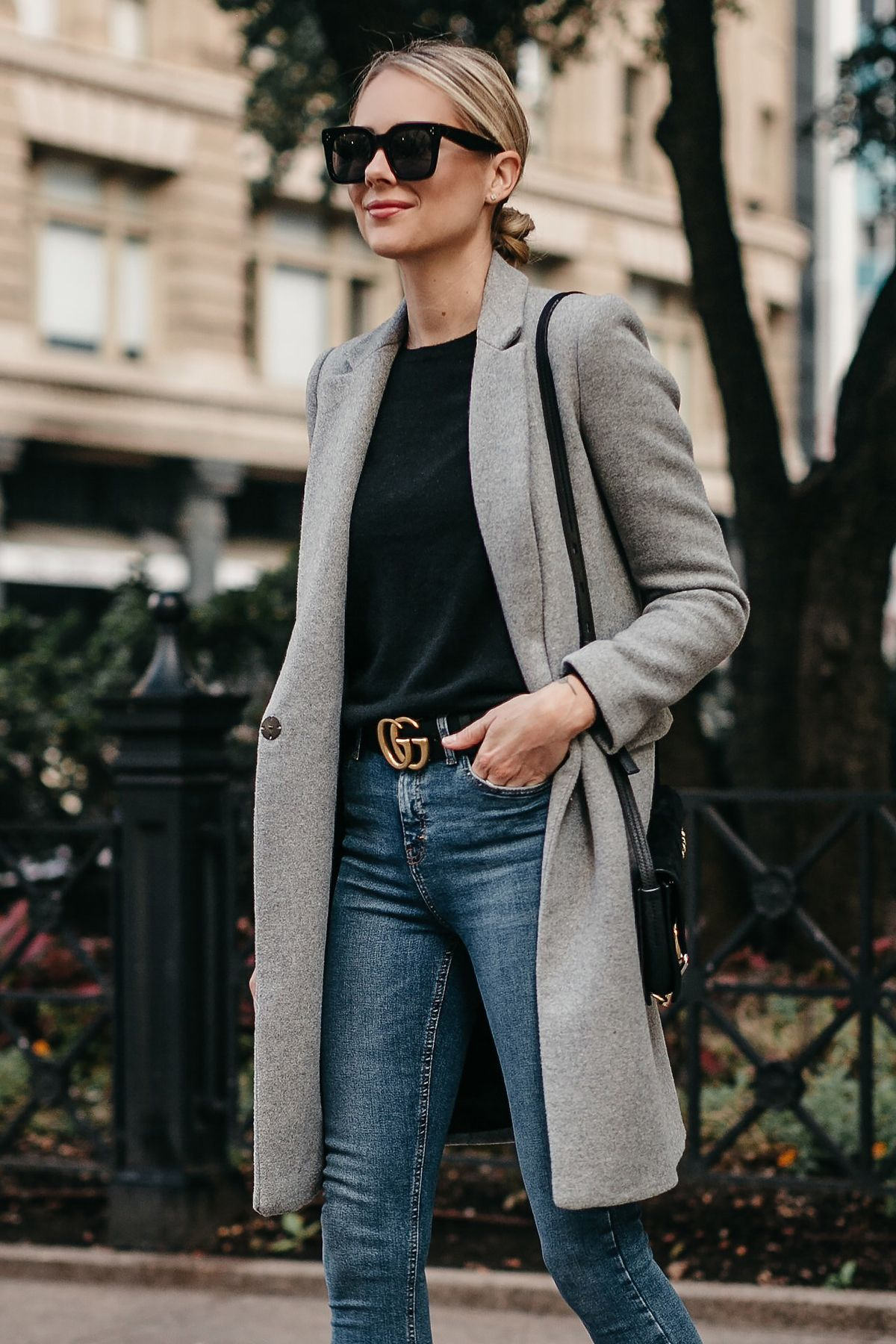 61a442b238 Blonde Woman Wearing Zara Grey Wool Coat Black Sweater Denim Skinny Jeans  Gucci Marmont Belt Fashion Jackson Dallas Blogger Fashion Blogger Street  Style