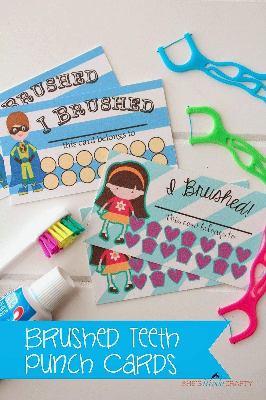 I Brushed My Teeth Punch Cards Free Printable in 2020