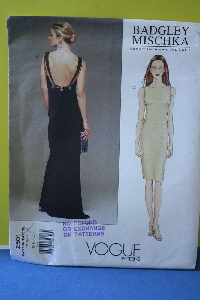 UNCUT Vogue #2501 Badgley Mischka  SZ 8-12 backless Evening Gown dress pattern 22+fr