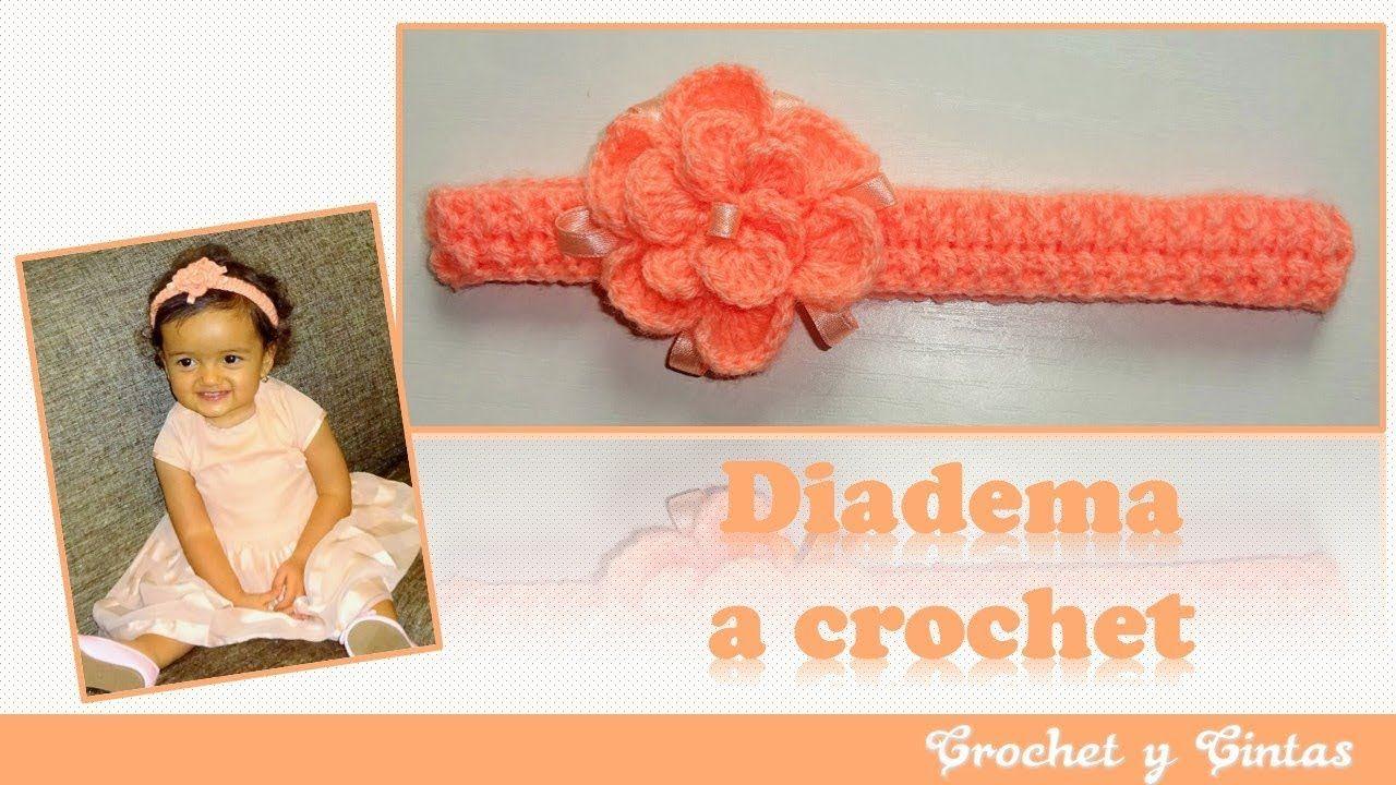 Diadema crochet en punto elástico con flor 3D en relieve | Vídeos ...
