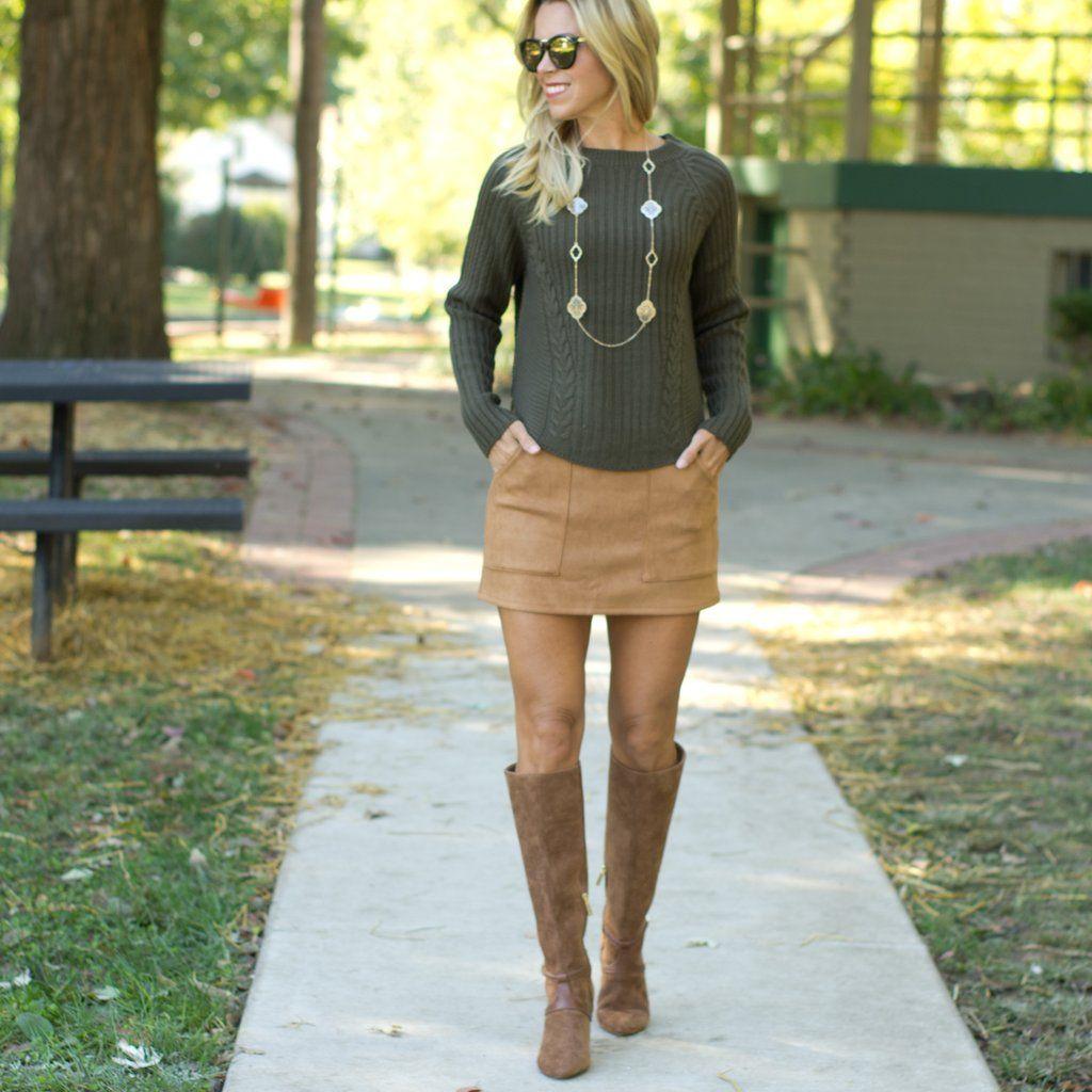 b7b436db90f6 olive sweater with tan suede skirt - www.shopcsgems.com | 2018 Trend ...