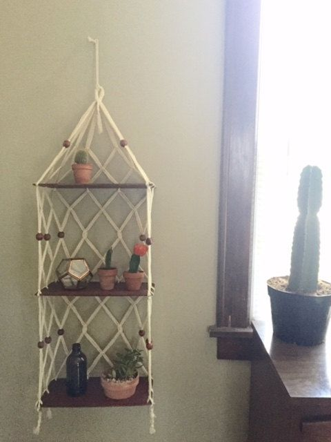 Vintage Macrame Plant Hanger Shelf They Don T Suc