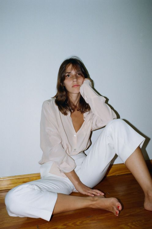 white trousers with pale pink silk shirt
