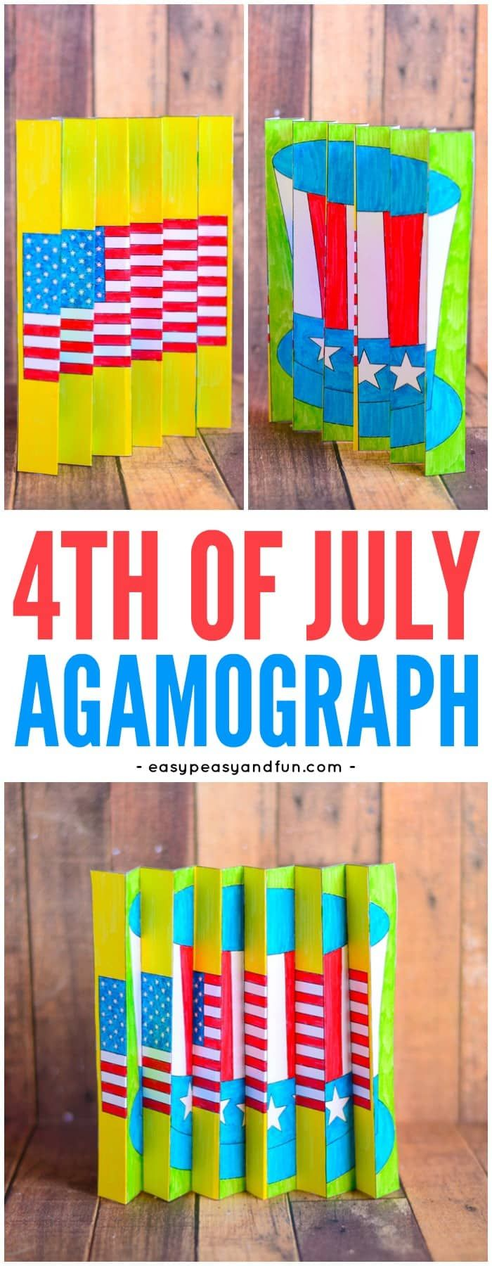 4th of July Agamograph! A colorful and old fashioned craft that is perfect of older kids at a Fourth of July party, summer camp or just because! Turn the picture- see a new picture!