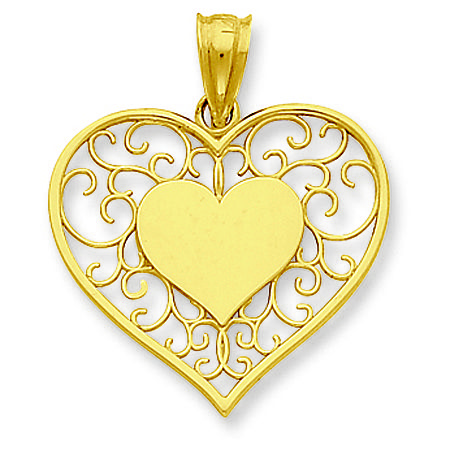 14K Yellow Gold Filigree Shamrock Charm Pendant from Roy Rose Jewelry
