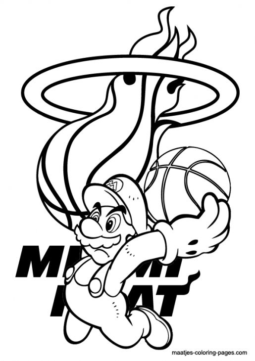 Mario In Miami Heat Coloring Pages Free Printable Sports Coloring