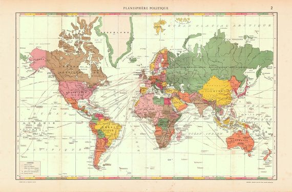 Large Antique World Map, Original 1930s | Vintage Maps | Pinterest