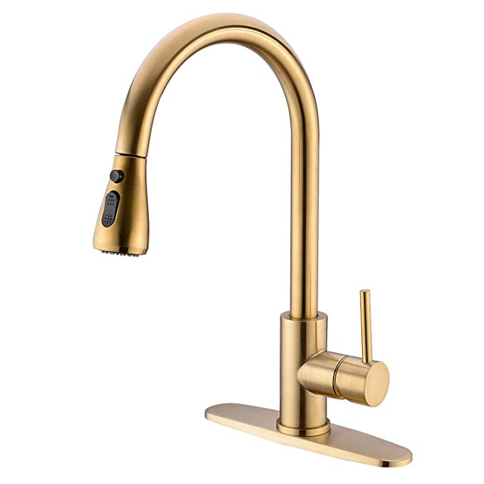 Trustmi Single Handle High Arc Brushed Gold Brass Pull Out Kitchen