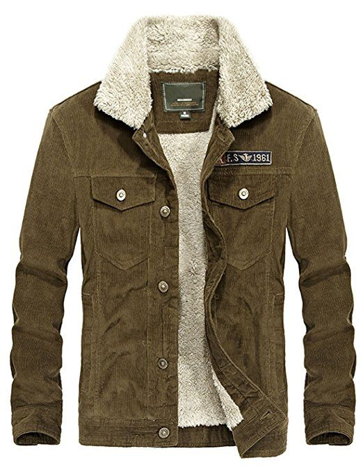 Omoone Mens Faux Fur Collar Sherpa Fleece Lined Distressed Denim Trucker Jacket