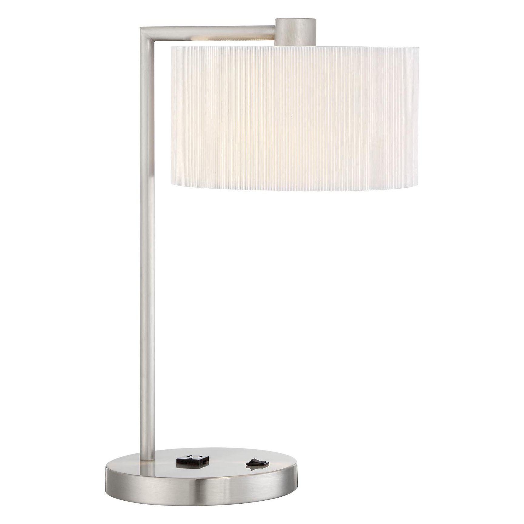 The Park Table Lamp features a Brushed Nickel finish with