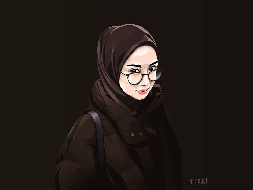 Muslimah Lukisan Wajah Gambar Ilustrasi Lukisan