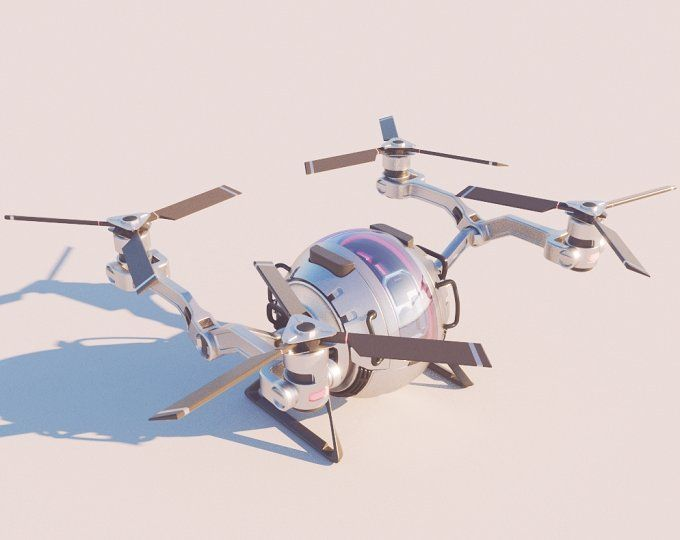 Sci Fi QuadCopter 3d Model Vray QUADROCOPTER DRONE CONCEPT UAV CARGO DELIVERY FUTURE HEAVY CONTAINER AIR