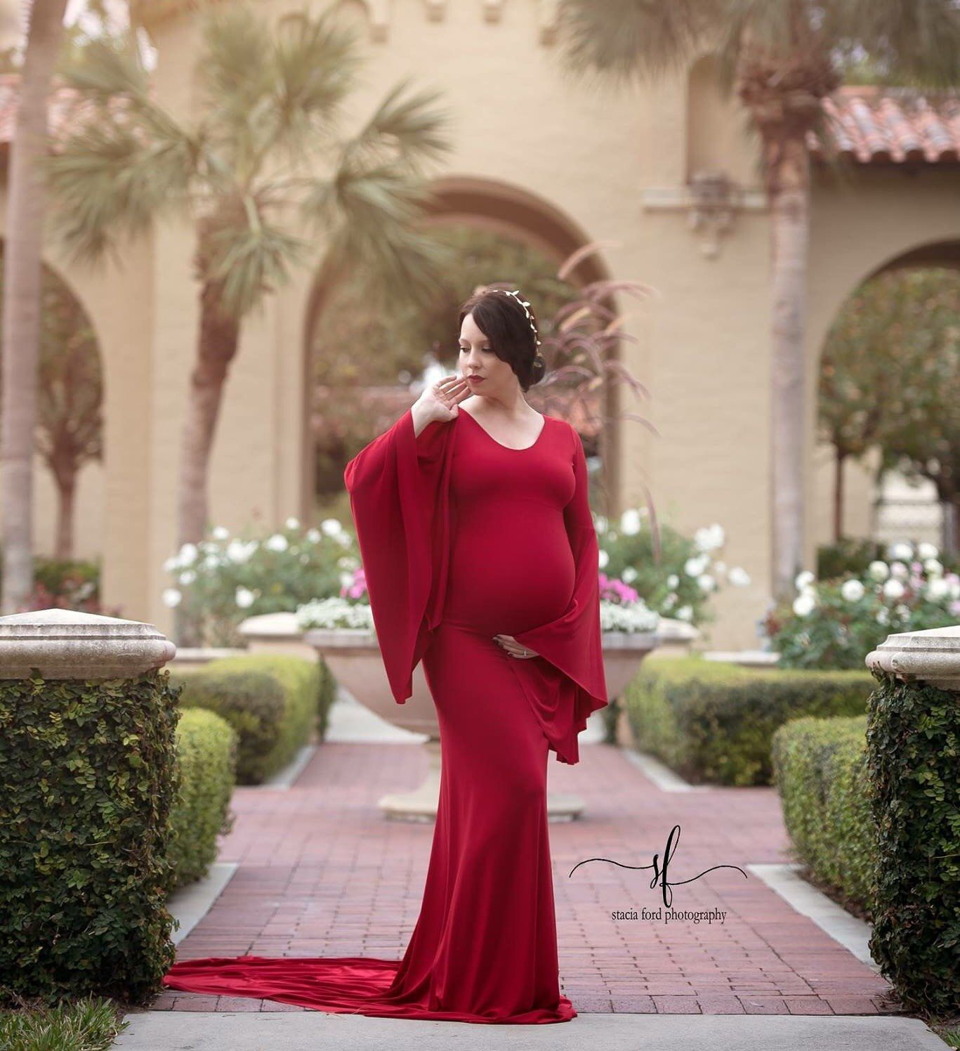 adf7cea560134 Thea Maternity Dress, boat neckline Long Bell Sleeves Maternity, Photo Prop  Dress, Red Maternity Gown, long train by SilkFairies on Etsy