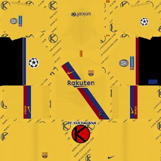 F C Barcelona 2019 2020 Champions League Nike Kit Dream League Soccer Kits Soccer Kits Goalkeeper Kits Barcelona Third Kit