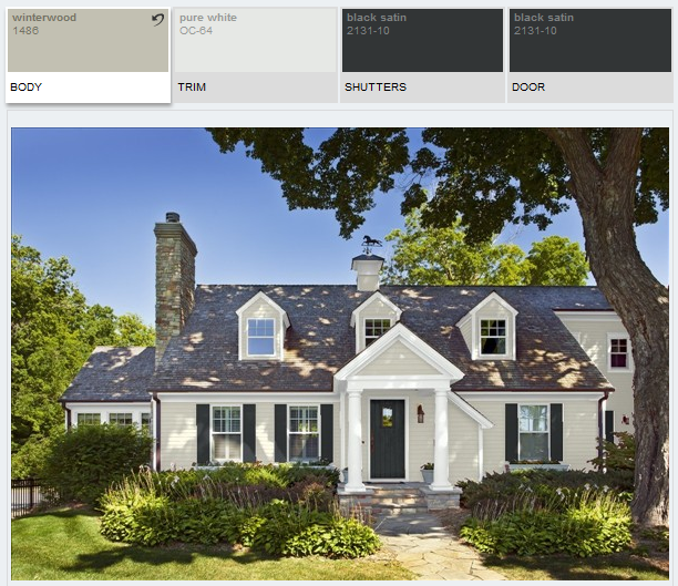 Benjamin Moore Winterwood Alabaster And Black Satin House Paint Color Combination House Paint Exterior Exterior House Paint Color Combinations
