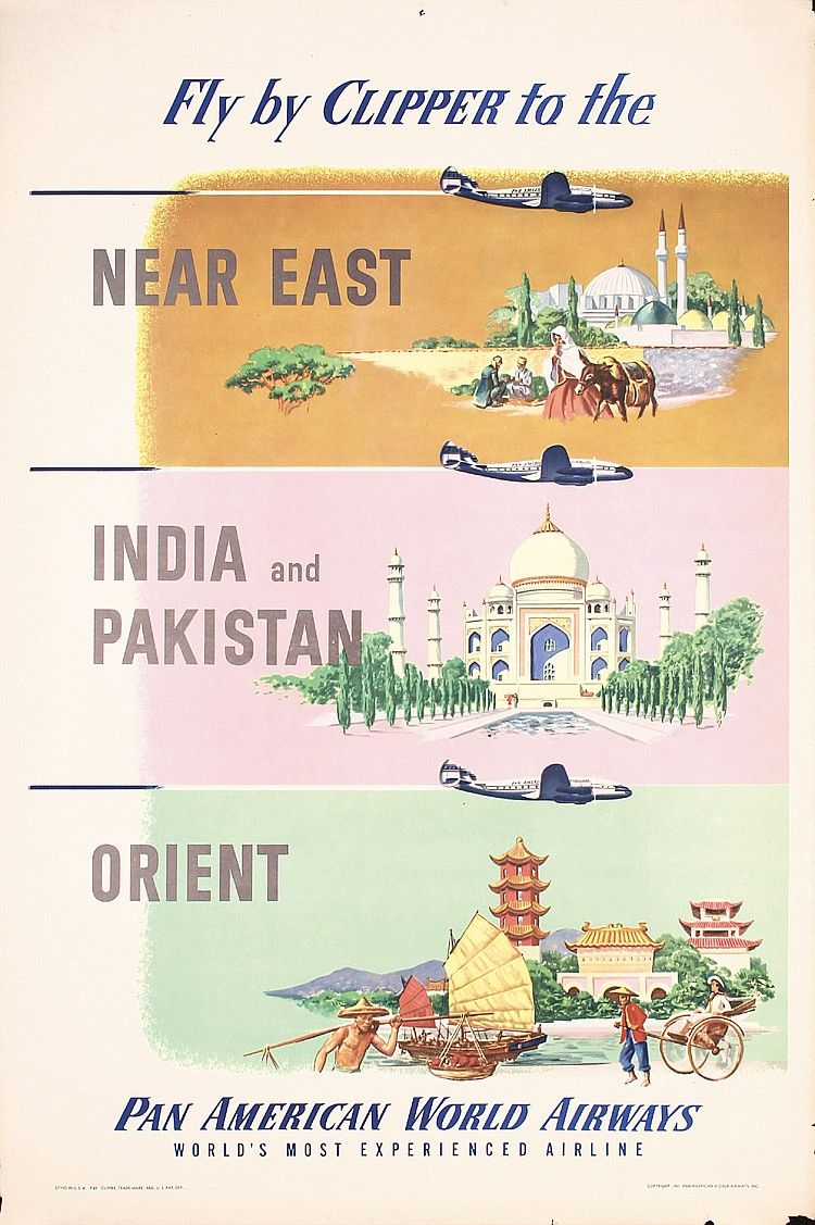 India /& Pakistan by Clipper Airline Vintage Travel Art Advertisement Poster