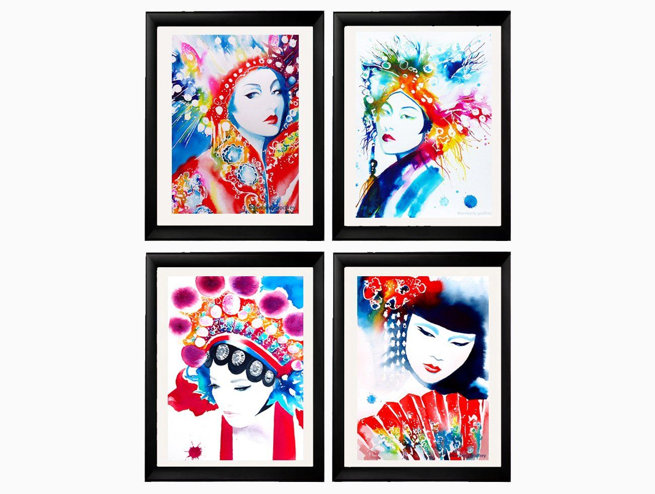 Set of 4 Fine Art Prints of Original Watercolor Fashion Illustrations China Oriental Headdresses Asian Home Decor Japanese Salon Decor Red Geisha. Just a little reminder: Airmail from England to the USA usually only takes one to three weeks to arrive - not the four to six weeks Amazon states as the shipping time Set of 4 Art Prints of original watercolor paintings from my Fashion series. Oriental Set of Four Direct from my studio, in Suffolk, England, signed & dated. Carefully packaged…