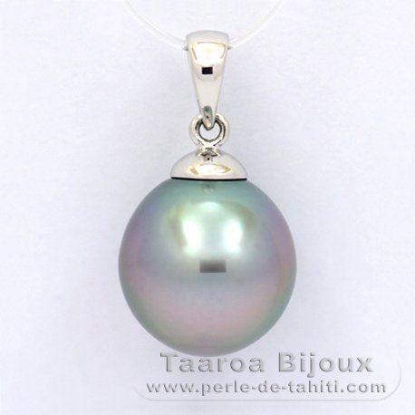 Pendentif en Or blanc 18K et 1 Perle de Tahiti Semi-Baroque B 11.6 mm - Taaroa Perles de Tahiti - Perles de Tahiti, d'Australie et des Mers du Sud - Bijouterie en ligne - Polynésie Française / St Barthélemy