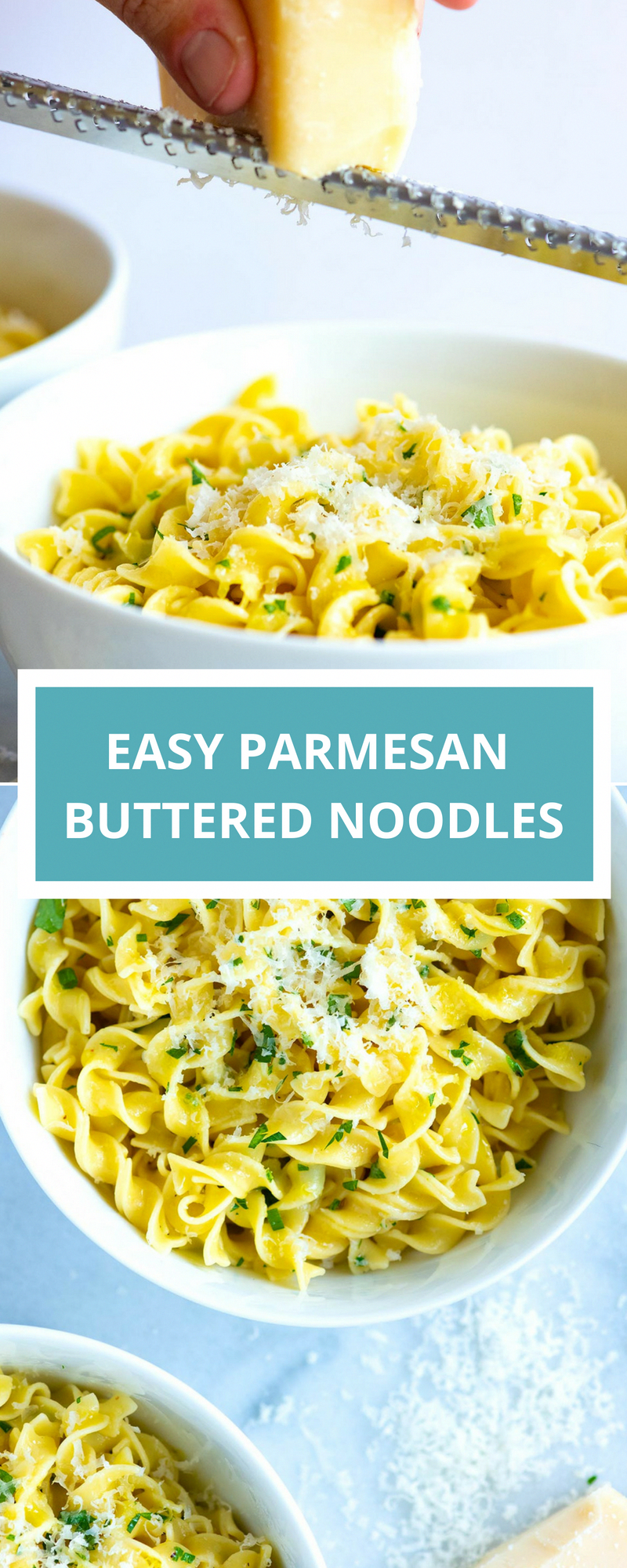 Easy Parmesan Buttered Noodles // I love this easy pasta recipe. Use egg noodles or your favorite pasta shape. These cheesy buttered noodles are perfect for dinner or work as a side dish.