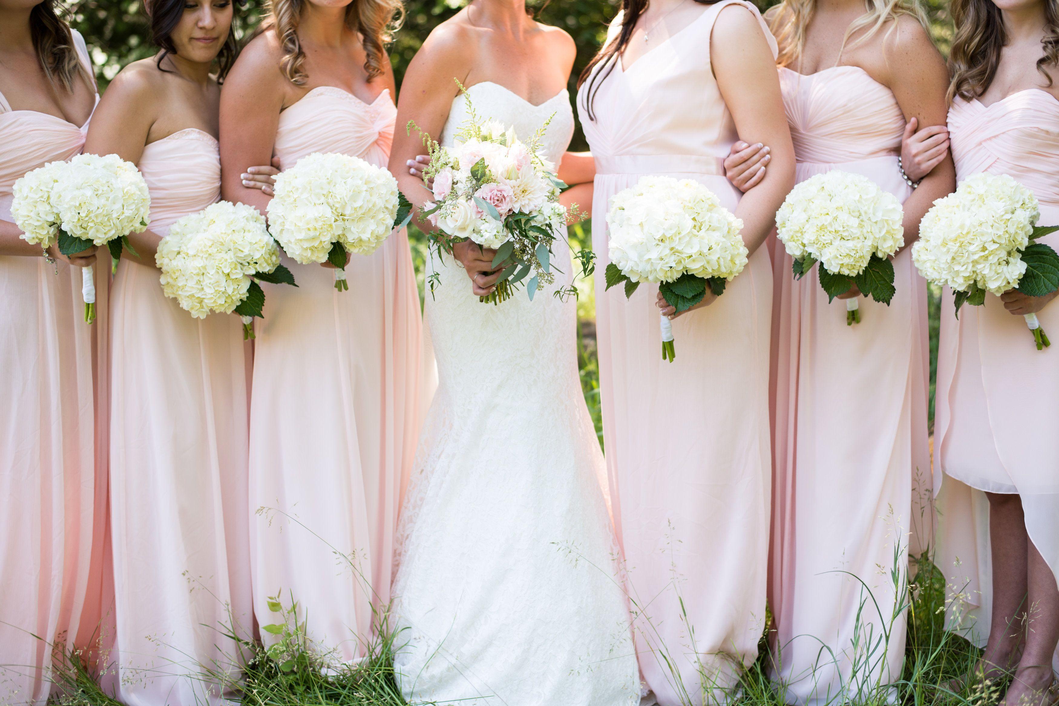 Simple White Hydrangea Bridesmaid's Bouquets | Mum's Flowers: Whitefish, Montana