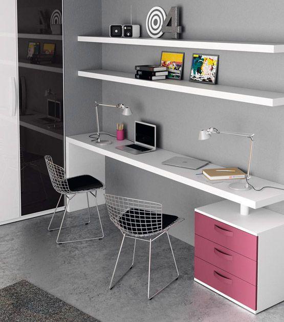 Escritorio juvenil para 2 y estanter as estudio - Escritorio para habitacion ...