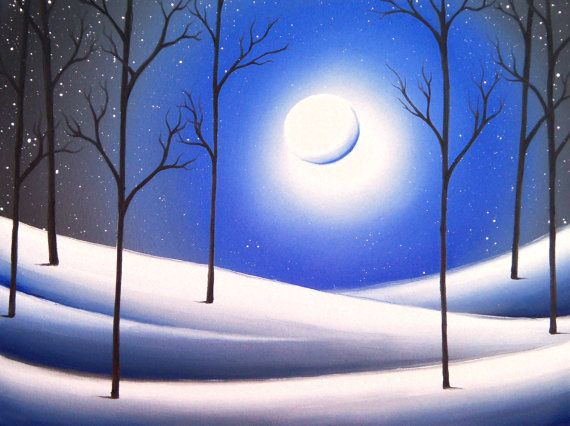 Snowy Landscape Print Winter Night Home Decor Winter Landscape Blue And White Wall Art Starr Winter Landscape Painting Landscape Paintings Winter Landscape