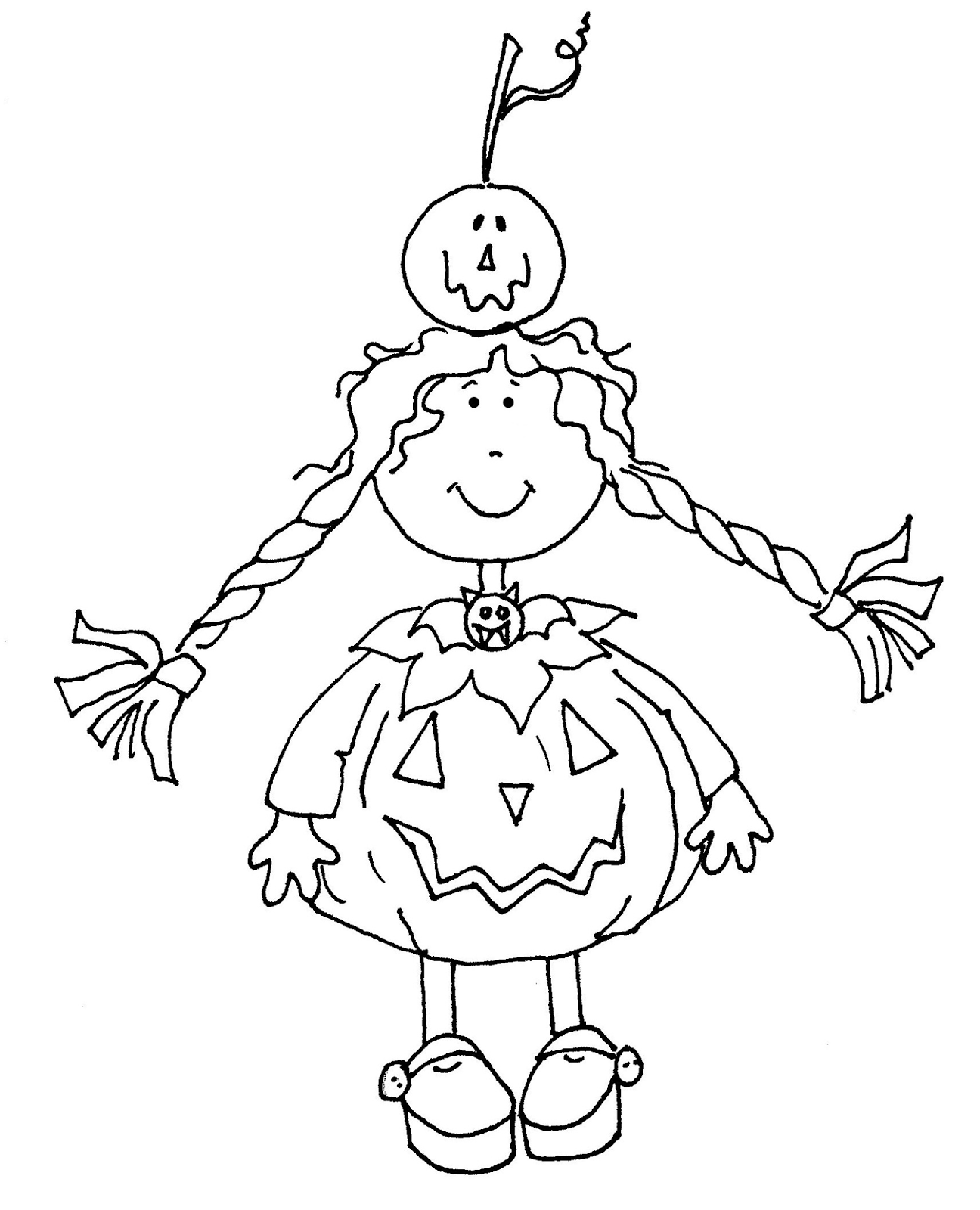 Free Dearie Dolls Digi Stamps Pumpkin Costume Girl Color Me Pretty