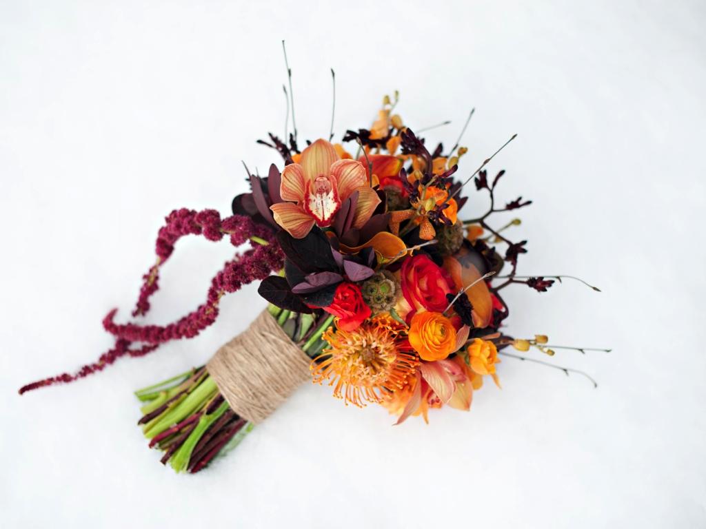rustic fall orange red plum wedding bouquet utah wedding flowers calie rose