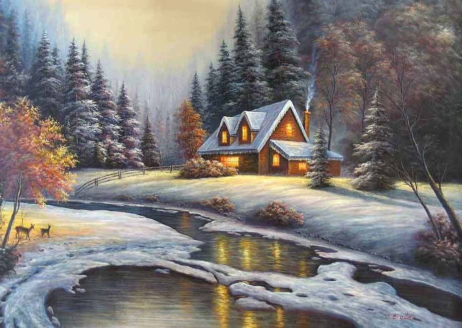 Winter paintings art gallery and art galleries oil for Oil paintings for the home
