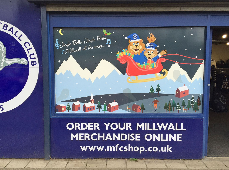 Millwall Football Shop Christmas Signage | Stadium-Signage.com