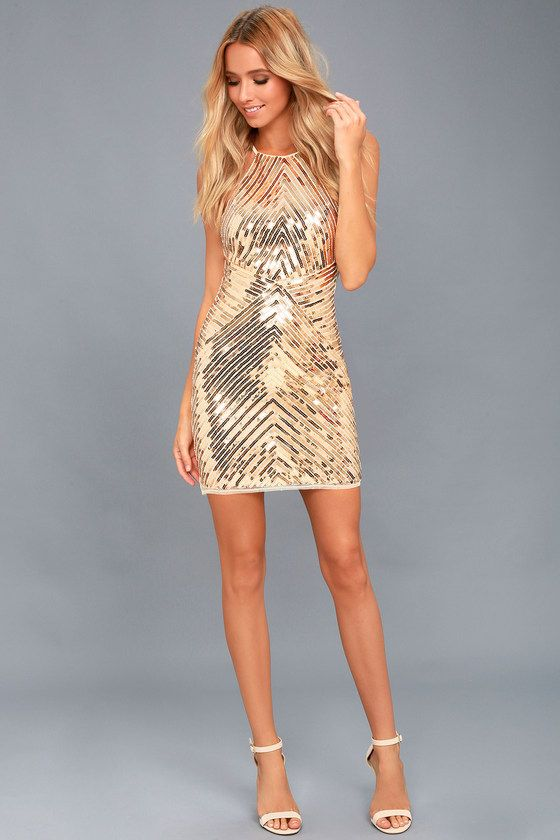Ace of Spades Gold Sequin Bodycon Dress in 2019  c7b94a65c734