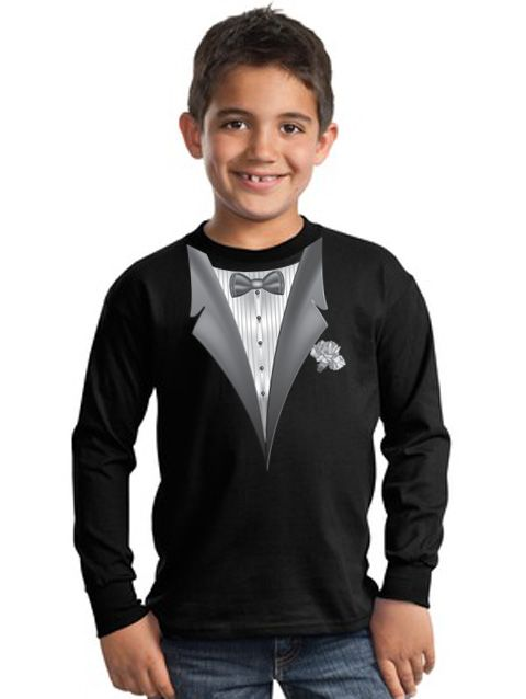 a855f7815 Tuxedo Kids T-shirts With White Flower - Youth Black   Kids   Tuxedo t shirt,  Black tuxedo, Tuxedo