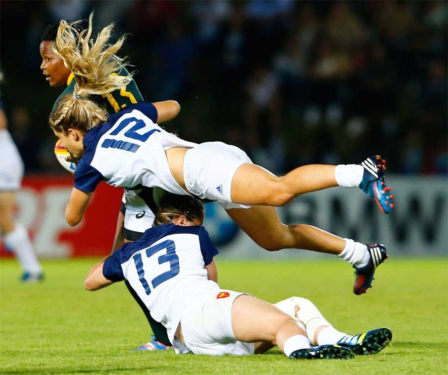Marjorie Mayans And Elodie Poublan Of France Tackle Benele