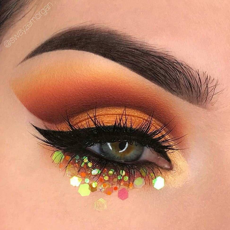 Eyemakeup Makeup Orange Fall Halloween Orangemakeup Halloweenmakeup Fallmakeup Eyeshadow Mascara Eyebrow Orange Eye Makeup Orange Makeup Eye Make Up