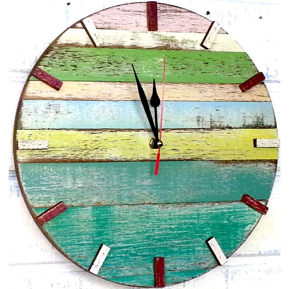 Recycled boat wood beach house clock thailand overstock