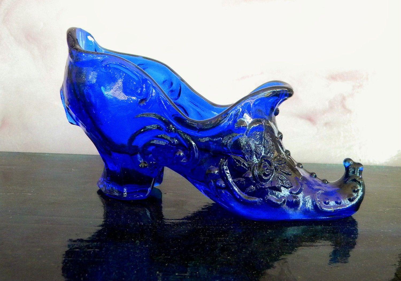 Vintage Glass Slipper Shoe Cobalt Blue by VintageAndVictorian