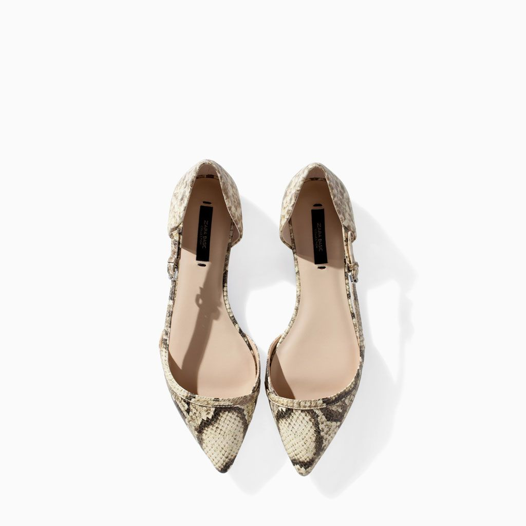e306456368c ZARA - COLLECTION AW14 - POINTED SNAKESKIN FLAT SHOES ...