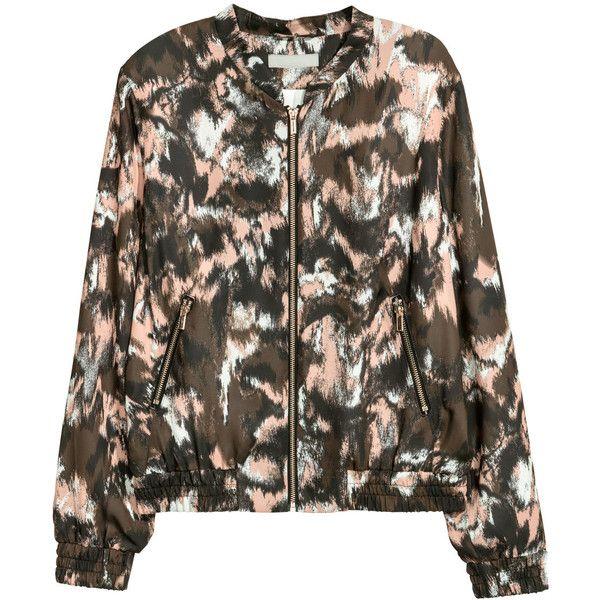 Satin Bomber Jacket $49.99 (1.410 UYU) ❤ liked on Polyvore featuring outerwear, jackets, satin bomber jacket, bomber jacket, zip bomber jacket, print jacket and stand collar jacket